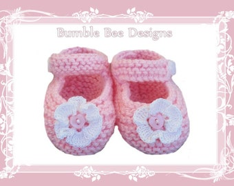 Hand Knitted Mary Jane Booties with Crochet Flower