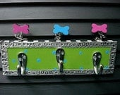 RESERVED for MaggieAndrewsMOM Customized Leash Hook...for your puppy dogs - MULTI HOOK LIME\/BLUE
