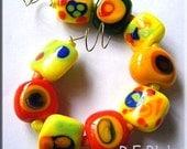 Colorful Wild Modern Art Lampwork Bead Set (9)