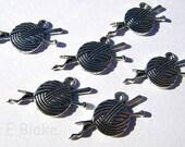 Knitting Yarn ball Charm Tibetan silver set of 6