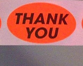 SALE, last ones - 100 'thank you' stickers, orange, oval