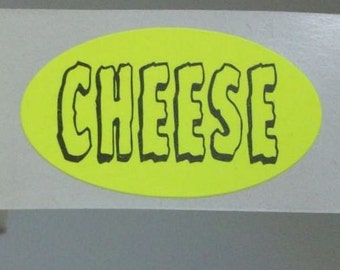 SALE, 80 'CHEESE' stickers, neon yellow and spoooooky