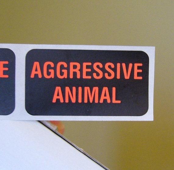 80 'Aggressive Animal' warning stickers, 1.5 inch