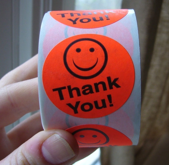 100 'Thank You' smily face stickers, bright orange, round, packing and shipping supplies