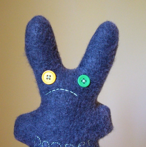 unhappy pooper bunny, dark gray fleece, SALE