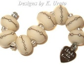 Etched Ivory w/ Silver - handmade lampwork beads by K. Urato SRA, LEteam