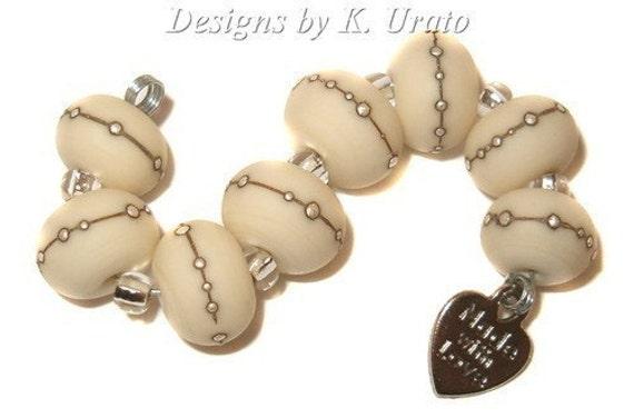 Lampwork beads - Etched Ivory w/ Silver wrap - handmade lampwork bead set by K. Urato SRA