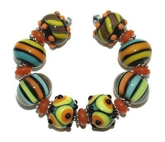 Fiesta Brights - lampwork bead set by K. Urato SRA