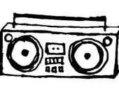 Squirrelly Stamps Boom Box Unmounted Rubber Stamp