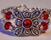 Red Swarovski Flower Ring