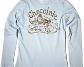 SALE - Chocolate Loves Me - Long Sleeve Tshirt, Size Medium - SALE