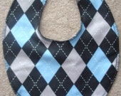 1 Boutique argyle baby bib choose pink or blue
