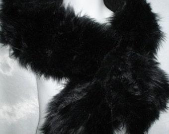 Black shag faux fur pull through neck scarf wrap