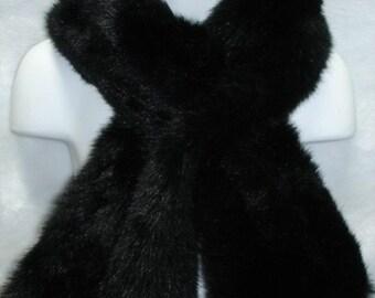 Black mink faux fur pull through neck scarf wrap