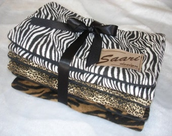 Animal boutique baby burp cloth trio zebra cheetah tiger stripes