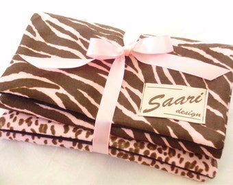 Zebra and leopard burp cloths 2 piece set