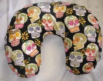 Sugar skulls punk rock boutique baby nursing pillow cover Dia de la muertos