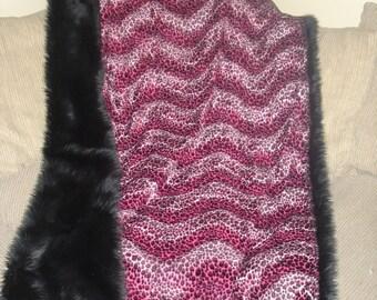 Saari Design faux fur shag and leopard throw blanket