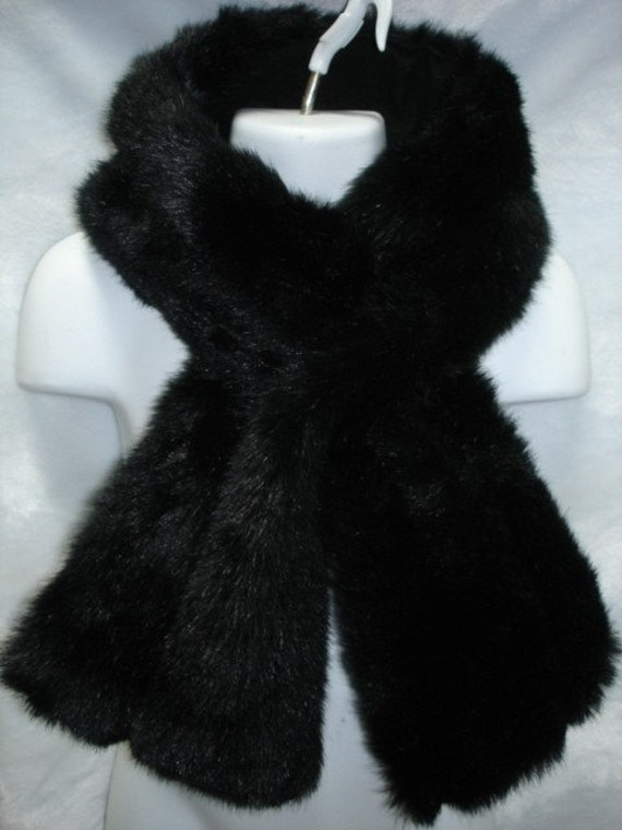 Black mink faux fur pull through neck scarf wrap