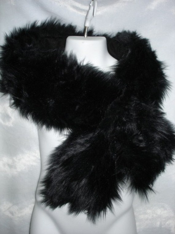Black shag faux fur pull through neck scarf wrap