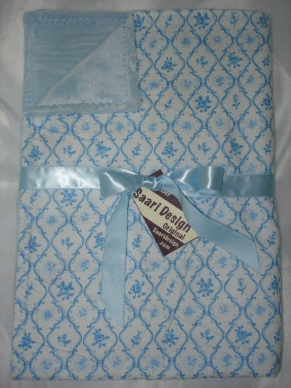 Vintage blue boutique baby blanket