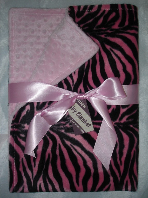 Saari Design Boutique  pink and black zebra faux fur baby blanket