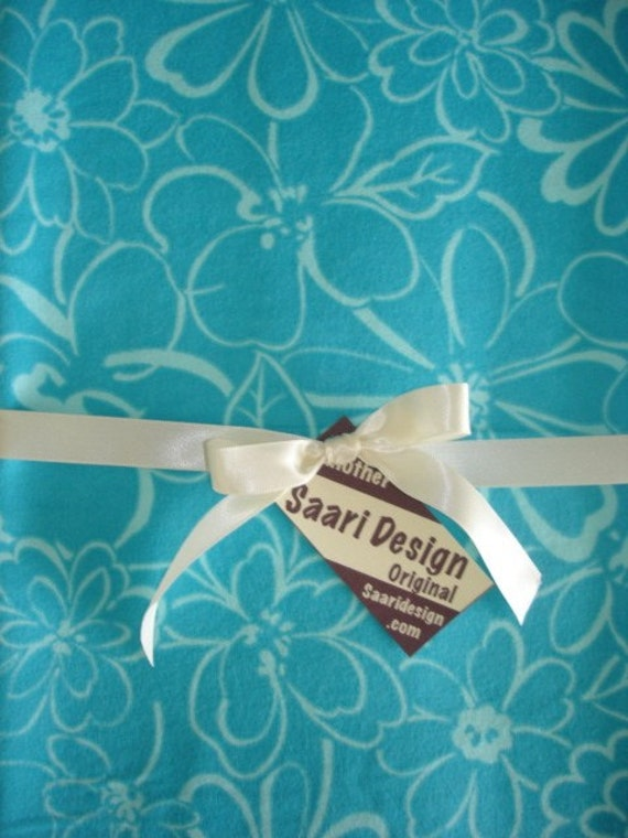 Beautiful blue on blue floral boutique baby blanket