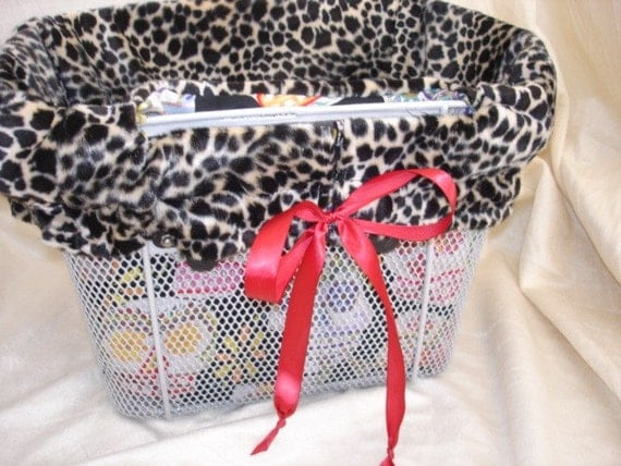 Boutique Leopard Reversible Bike Basket Liner