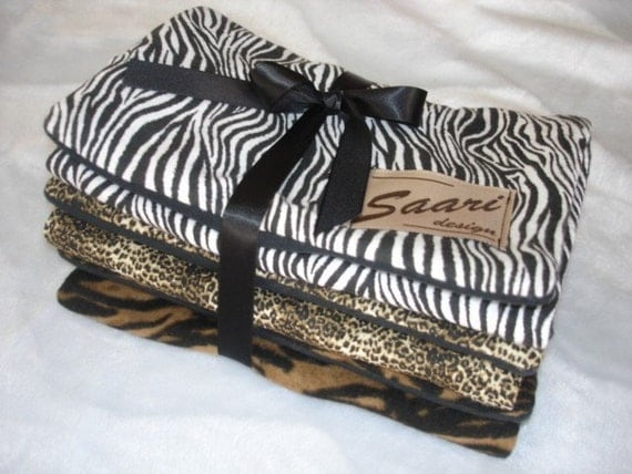Animal boutique baby burp cloth trio zebra cheetah tiger stripes