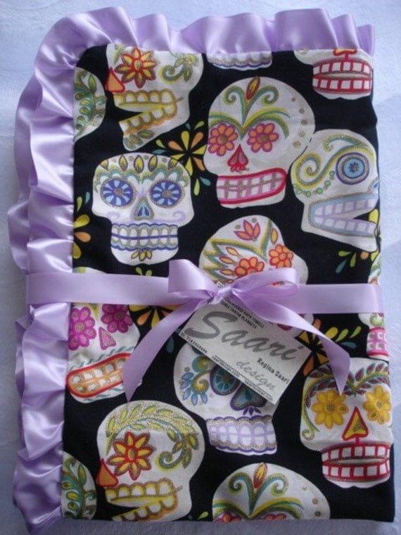 Satin ruffle sugar skull Boutique baby blanket