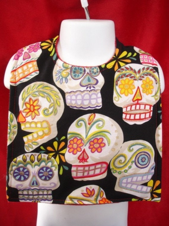 Day of the dead punk rockabilly skulls baby bib, sugar skulls baby bib