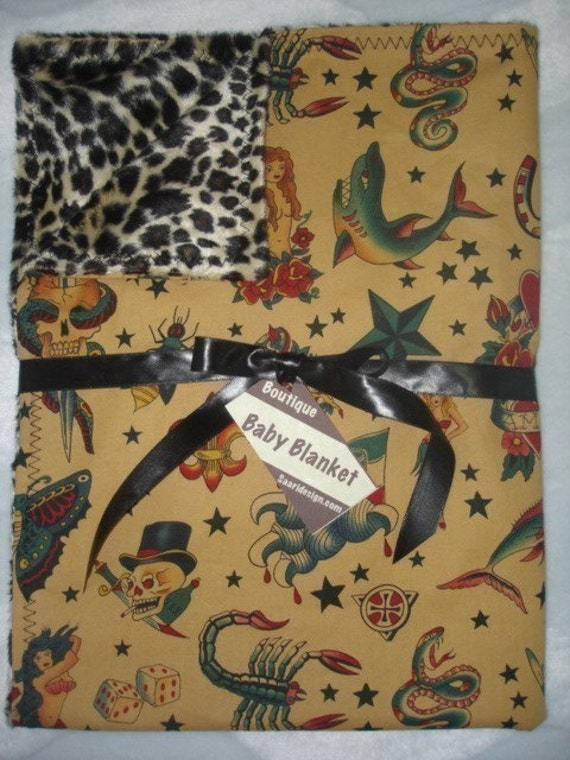 Tattoo baby blanket, punk tattoo baby blanket, rockabilly leopard boutique baby blanket,  CHOOSE 1 pink black or tea stained Adult sizes too