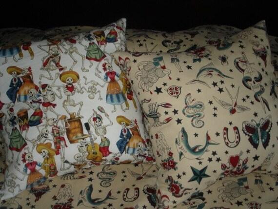 Tattoo Punk Rockabilly boutique skulls throw pillows