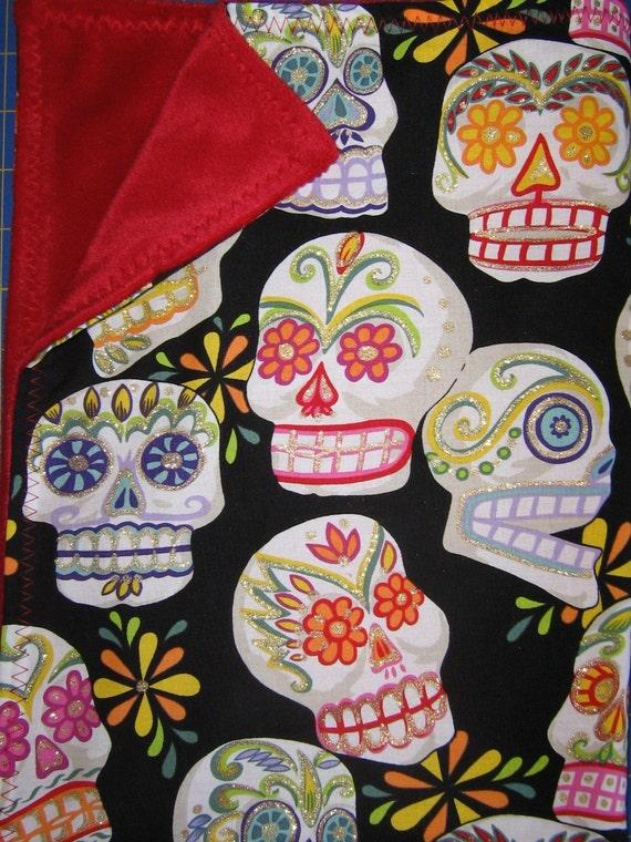 Day of the dead punk rockabilly skulls baby blanket