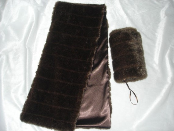 Brown Mink FAUX FUR STOLE  and Hand muff WRAP SHAWL SHRUGS weddings Choose any fur