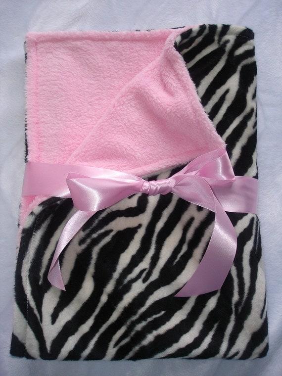 Zebra faux fur  & pink velboa boutique baby blanket