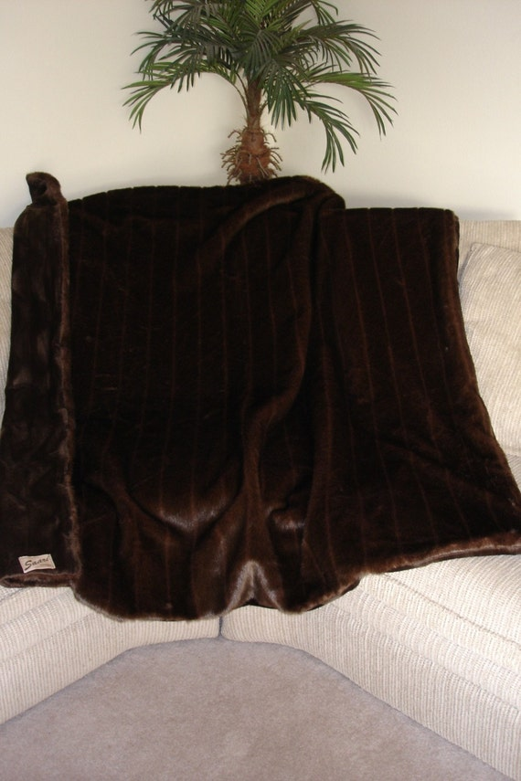 Luxurious Faux Fur brown mink throw blanket by Saari Design