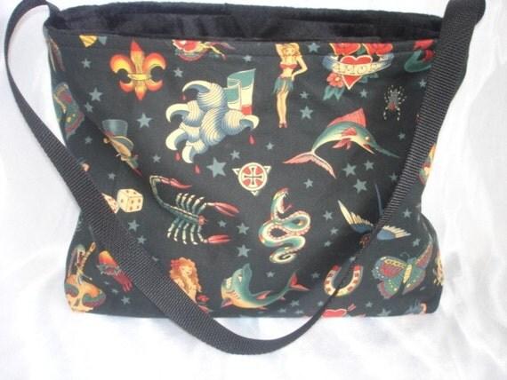SALE tattoo Black punk boutique baby diaper bag purse tote