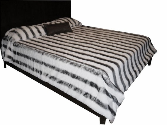 Bedspread white and grey mink Faux Fur  Queen Size or larger OR CHOOSE SOLID white or black mink