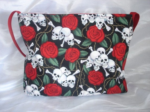 Skull n Roses punk rockabilly baby diaper bag tote or purse