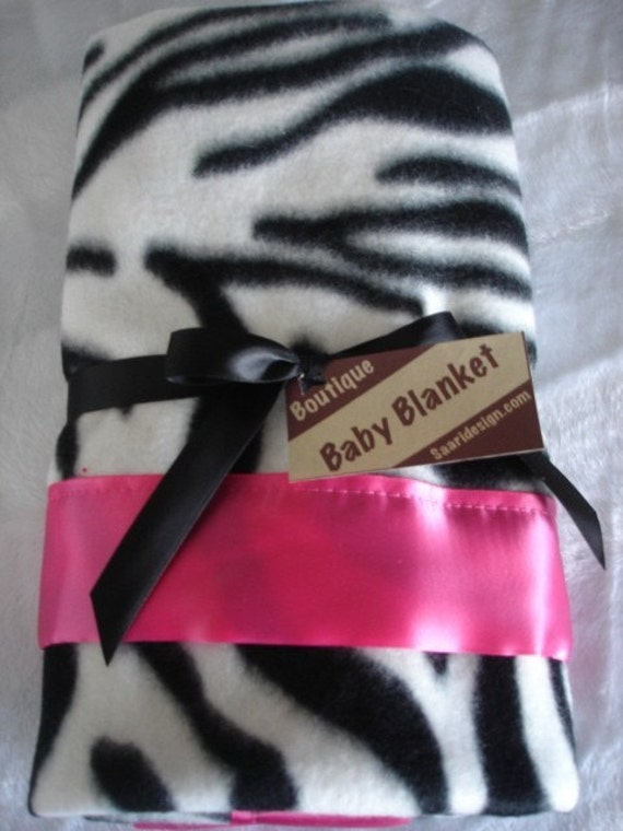 Zebra fleece and satin boutique baby blanket
