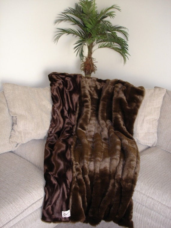 Designer Faux Fur Mink Throw Blanket