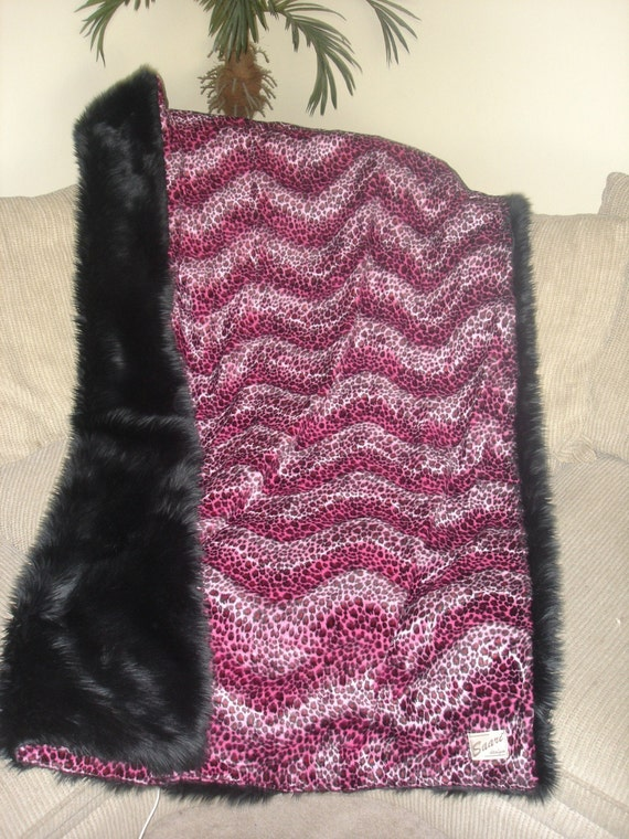 Saari Design faux fur shag and leopard throw blanket