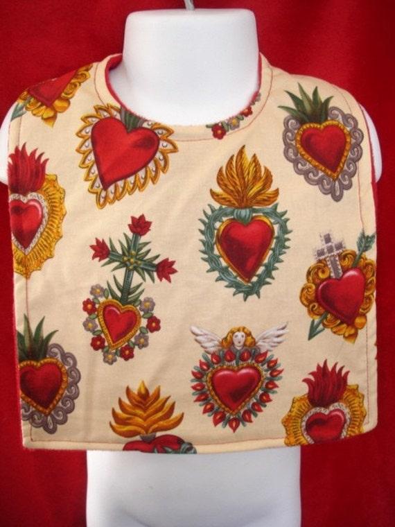 Sacred hearts tattoo baby bib