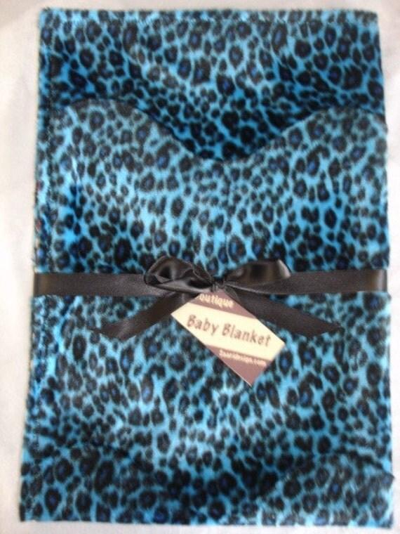 Blue leopard boutique baby blanket