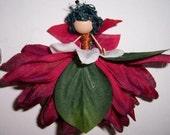 Red Fairy Custom Handmade Faery Ornament Doll