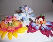 Custom Flower Fairy Trio Brooches