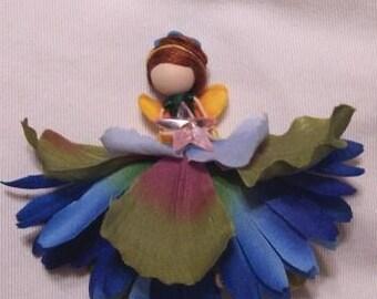 custom blue flower fairy pin clip or ornament ooak