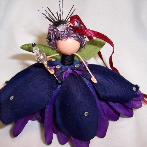 Custom Purple Fairy Ornament or Pin