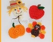 NEW LOWER PRICE  pdf Fall Embellishments Crochet Pattern Set